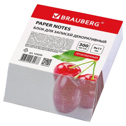 Блок для записей BRAUBERG проклеенный, косой срез 9×11 см, 300 листов, ДЕКОРАТИВНЫЙ, 5 дизайнов ассорти