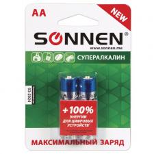 Батарейки SONNEN Super Alkaline АА, 2шт/упак