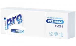 Салфетки бумажные PROtissue Premium однослойные 24х24 см 500 штук в упаковке С211