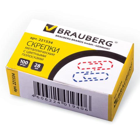 Скрепки BRAUBERG, 28 мм с цветными полосками, 100 шт