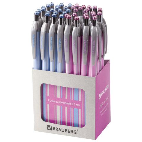 """Ручка шариковая автоматическая BRAUBERG """"Sakura"""", корпус ассорти, узел 0,5 мм, линия письма 0,3 мм"""