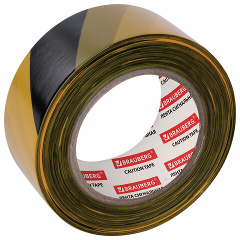 """Лента сигнальная желто-черная, 50 мм х 200 м, BRAUBERG """"Грандмастер"""", основа полиэтилен"""