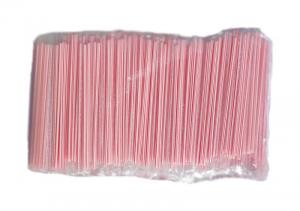 Трубочки пластиковые в индивидуальной упаковке, красная полоса, D=5мм,L=210мм, 1000шт/упак